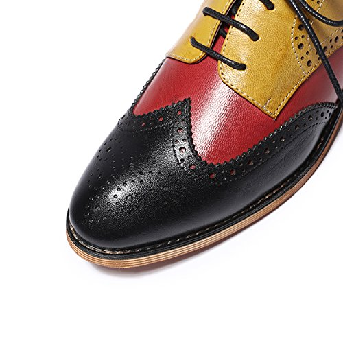 in China sale online high quality cheap price Mona Flying Women's Leather Perforated Lace-up Oxfords Shoes for Women Wingtip Multicolor Brougue Shoes Black-yellow clearance largest supplier clearance store cheap online cheapest XNhIAuYnk8