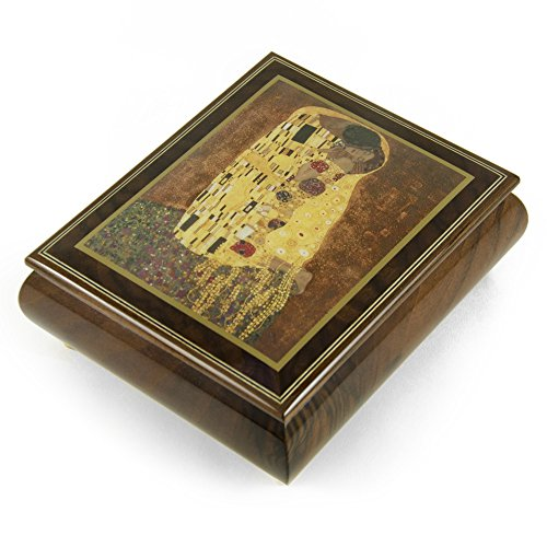 Handcrafted Ercolano Music Box Featuring The Kiss by Klimt Gustay (1862-1918) - Over 400 Song Choices - Three Coins in The Fountain