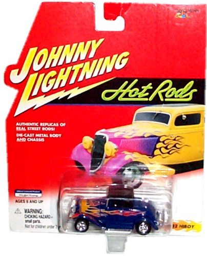 Johnny Lightning - Hot Rods - 1932 HiBoy (Dark blue with orange/yellow flames) Replica