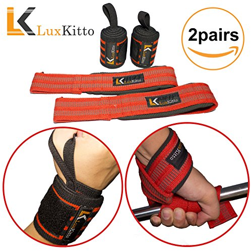 Lifting Straps and Wrist Wraps Bundle (2 Pairs) Support f...