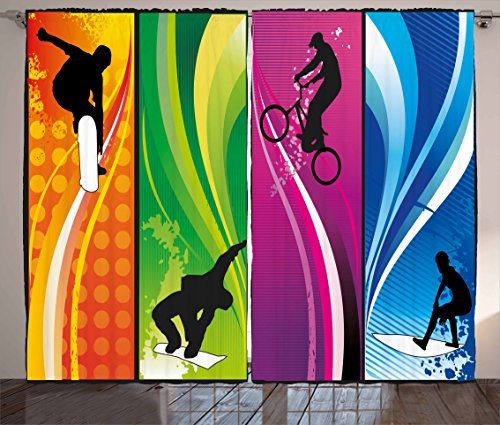 Sports Curtains by Lunarable, Extreme Sports Depicting Silhouettes with Vibrant Colors Surfing Bmxing Snowboarding, Living Room Bedroom Window Drapes 2 Panel Set, 108 W X 84 L Inches, (Sports Silhouettes)