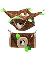 """DMISOCHR Small Animal Hammock - Hanging Hammock & Tunnel Cage for Ferret Hamster Parrot Rat Guinea-Pig Mice Chinchilla Flying Squirrel - Warm Plush Cage Hideout Swing Pet Hammock with 5.9"""" Chain"""