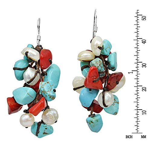 Cluster Simulated Turquoise & Reconstructed Coral & Cultured Freshwater White Pearl .925 Sterling Silver Dangle Earrings by AeraVida (Image #2)