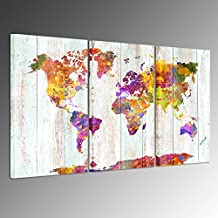 Kreative Arts - Large Size Canvas Prints Wall Art Watercolor Push Pin Travel World Map Modern Wall Decor Stretched Gallery Canvas Wrap Giclee Print Ready to Hang for Home Decoration