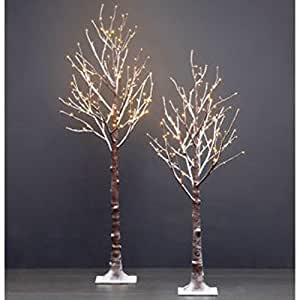 Amazon Com 2pk Led Flocked Twig Trees 5 5 Ft Tree With