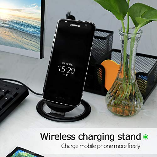 Hootech iPhone X Wireless Charger, QI Fast Wireless Charging Pad Stand, Standard Charge for Samsung Galaxy Note 8 S9 Plus S8 Plus S8 S7 S7 Edge Note 5, Standard Charge for iPhone X iPhone 8/8 Plus by Hootech (Image #6)