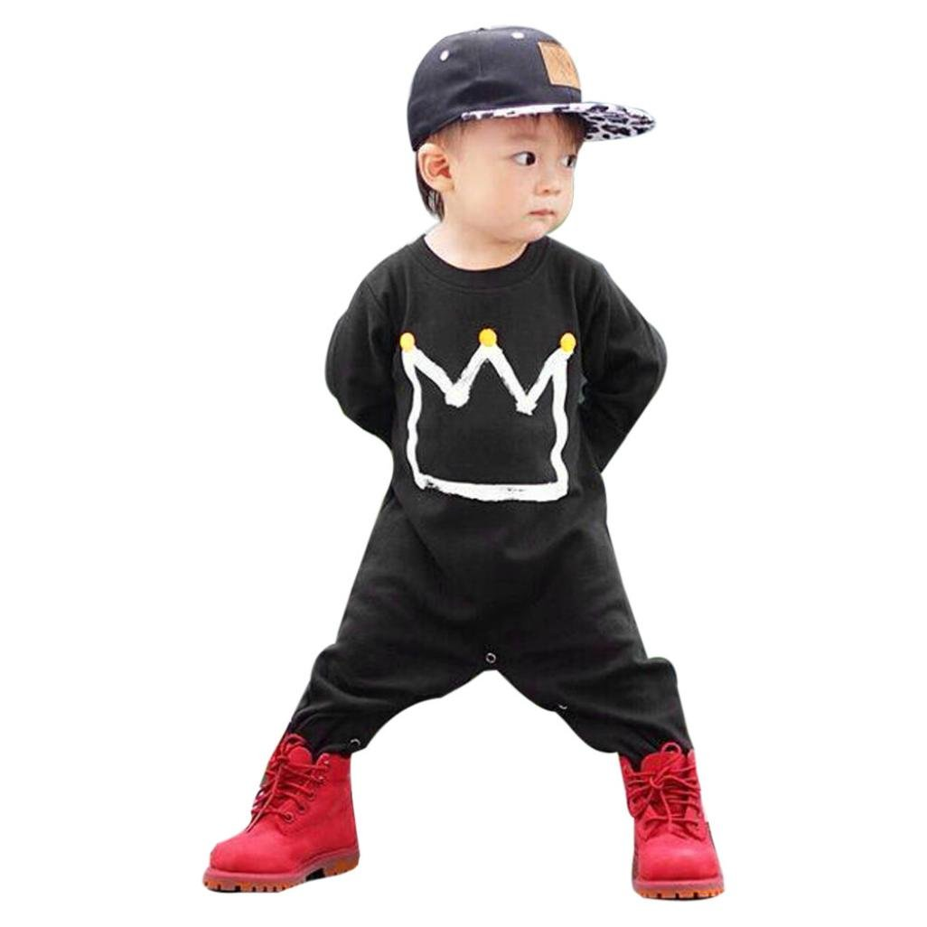 7aa0bea36 Amazon.com  Toraway Newborn Infant Baby Boys Crown Print Jumpsuit ...