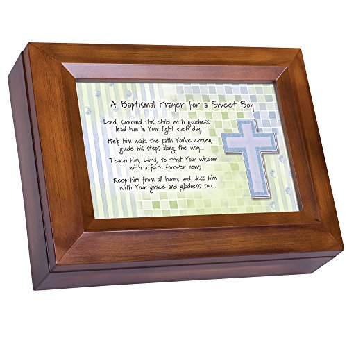 Cottage Garden Baptismal Prayer for a Sweet Boy Wood Finish Jewelry Music Box - Plays Tune You are My Sunshine