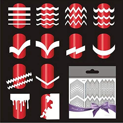 Baost 5 Sheets French Manicure Polish Stickers Nail Art Tip Form Guide Sticker DIY Nail Stencil Adhesive Nail Art Wraps Decal Strips Toe Nail Sticker for Women Girls Random