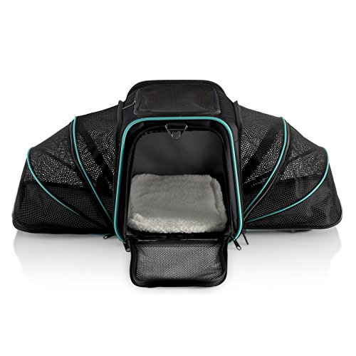 Dual Expandable Pet Carrier with Soft Sided Crate for Small Animals – Airline Approved Pet Carrier with Adjustable Shoulder Strap and Handle for Dogs|Cats | Terminal Friendly Carry Bag for Pets-Grey