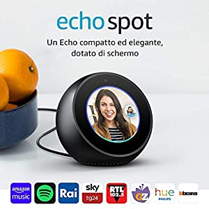 Amazon Echo Spot - Un altoparlante intelligente dotato di schermo, con Alexa - Nero