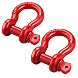 Gaxiog Shackles 3/4'' (2 Pack) D ring Shackle Rugged 4.75 Ton (9,500 Lbs) Capacity ,for Vehicle Recovery, Towing&More ,For Jeeps & Trucks Accessory,Red