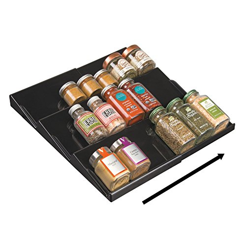 Rack Insert - mDesign Adjustable, Expandable Spice Rack Drawer Organizer Tray Insert for Kitchen Cabinet Drawers - 3 Slanted Storage Shelves - Garlic, Onion, Cinnamon, Salt - BPA Free, Food Safe - Black