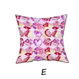 Pillow Case,Morecome Happy Valentine Pillow Cases Linen Sofa Cushion Cover Home Decor (E)
