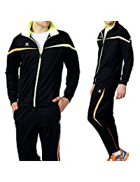 Fuerza Mens Premium Material Knit Training Warm Up Tracksuit - Black/Lime