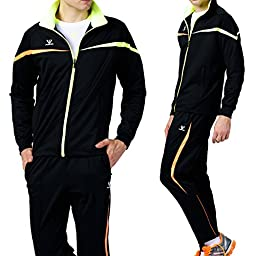 Fuerza Mens Premium Material Knit Training Warm Up Tracksuit - Black (Medium)