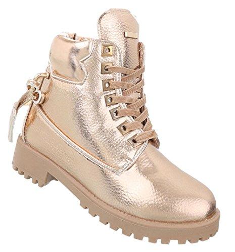 Schuhe Gold Boots Stiefeletten Damen Schuhcity24 Schnürer CSZawHaq ...