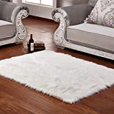 wendana Faux Sheepskin Area Rug Silky Shag Rug White Fluffy Carpet Rugs Floor Area Rugs Decorative for Living Room Girls Bedrooms 2' x 3 '