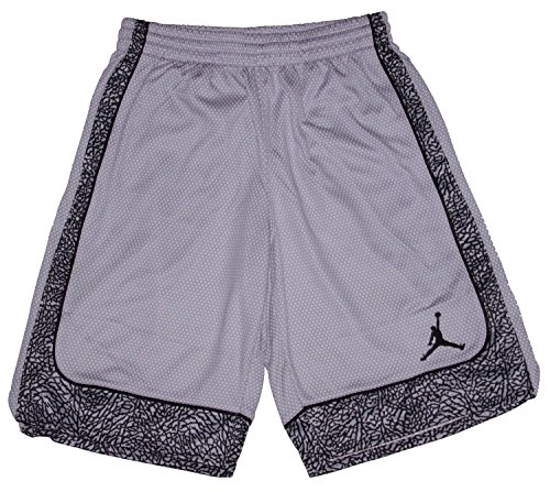 Nike Boys' Jordan Varsity Elephant Print Basketball Shorts - Grey/Black Small Jordan Embroidered Shorts