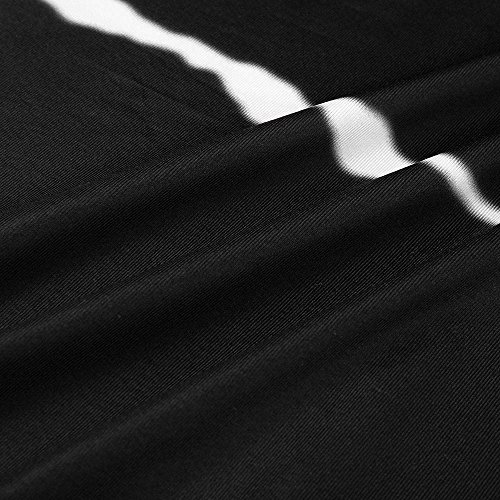 JESPER Women's Casual Chiffon Striped Short Sleeved Pocket Split Irregular Hem Long Beach Dress Black by JESPER (Image #3)
