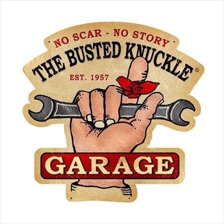 Past Time Signs BUST134 Busted Knuckle Garage Automotive Custom Metal Shape Knuckle Garage Metal Sign