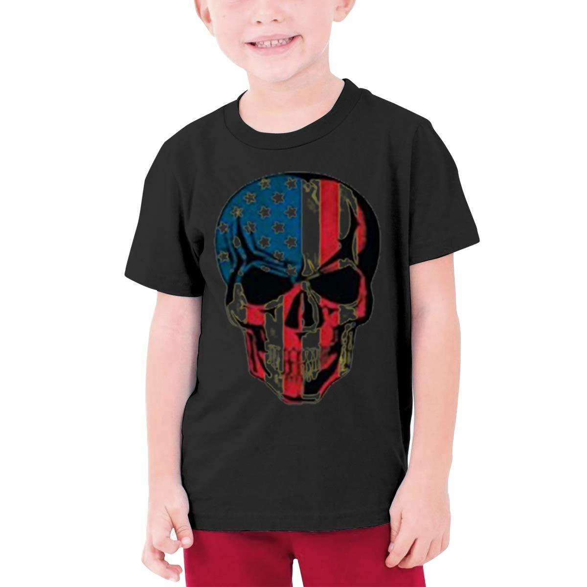 Alffe American-Flag-Skull T-Shirt Boy Kids O-Neck 3D Printing Youth Fashion Tops