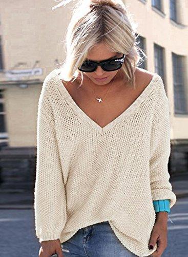 ACHICGIRL Mujer Suéter de Punto Cuello de V Delgado de Moda Beige
