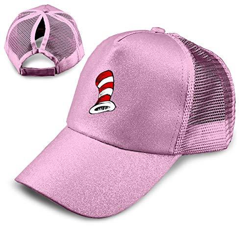 Baseball Musical (Kfrfa Seussical Kids Summer Musical Trend Sequined Baseball Cap for Women's High Ponytail Messy Bun Trucker Hat)