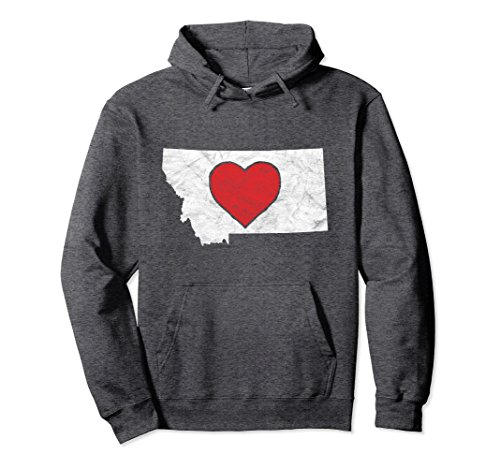 Unisex State of Montana Home Hoodie - Retro Heart Hooded Sweatshirt Medium Dark Heather (Hoodie Silhouette Mens)