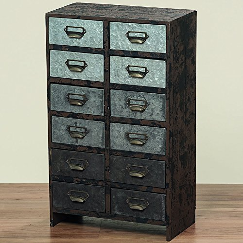 The Urban Chic Nightstand With 12 Drawers, Wood, Galvanized Metal, Label Holder Pulls, 24 1/2 Inches Tall, By Whole House Worlds by Whole House Worlds (Image #2)