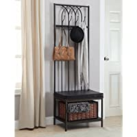 Metal Hall Tree Upholstered Bench With Storage Basket, Arched Design, Faux Leather Cushion, Functional, Space Saving, Ideal For Entryway, Mudroom, Indoor Furniture, Black Color + Expert Guide