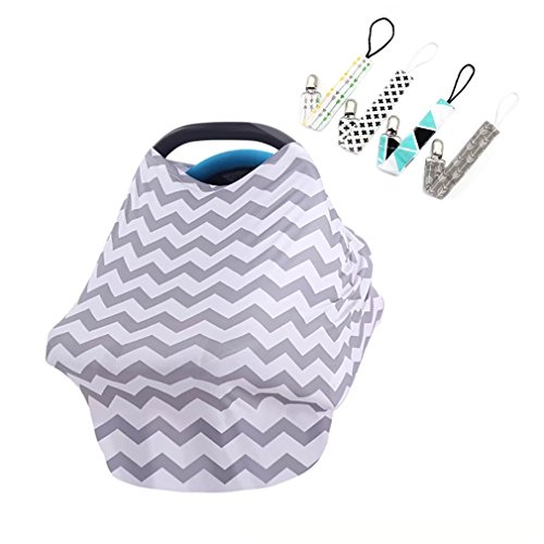 Scheppend Multi-Use Stretchy Baby Car Seat Cover Canopy Nursing Breastfeeding Cover Shopping Cart Cover Gift Set for Infant with 4 Pacifier Clips,Grey White Wave from Scheppend