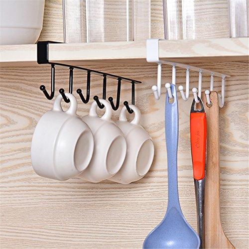 6 Shelf Cabinet (Mug Hooks, Essort 3 Pcs Black Multi-Function 6 Hook Under Shelf Mugs Cups Wine Glasses Storage Drying Holder Rack, Cabinet Hanging Organizer Rack for Ties And Belts)