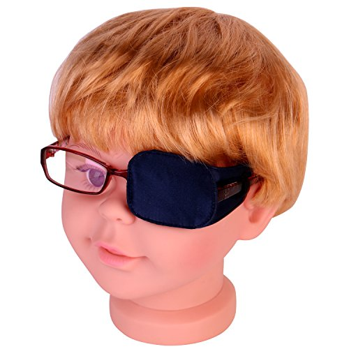 Plinrise Pack of 1 Silk Eye Patches No Light Leak, Smooth, Soft and Comfortable-Boys and Girls-Amblyopia/Lazy Eye Patches For Children, Kids Eye Patch,Strabismus, Child Health Protection Navy Blue
