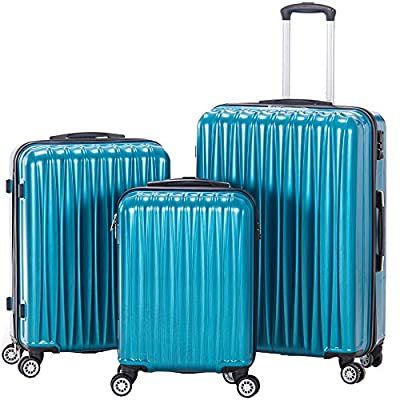 Spinner Luggage Set Lightweight 3 piece Hardside Suitcase set with TSA lock 20inch carry on 24inch 28inch