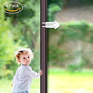 BALFER Sliding Door Locks for Baby Safety 4 Packs Childproof Locks for Sliding Closet Patio Glass Windows Door Lock No Tools Needed and Easy Clean
