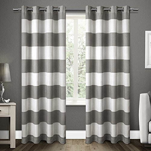 Long Santa (Exclusive Home Curtains Santa Monica Striped Grommet Top Window Curtain Panel Pair, Black Pearl, 54x96)