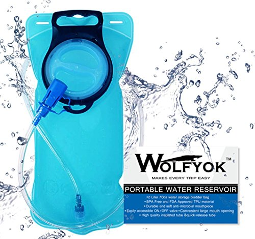 Wolfyok 2L Trinkbeutel, Trinkblasen / Camelbags Portabel 70oz Blase Geruchsfrei Beutel für Touren, Camping, Wandern, Laufen, Radfahren, Reisen und andere Sport-Aktivitäten, FDA -Zertifizierung, BPA frei