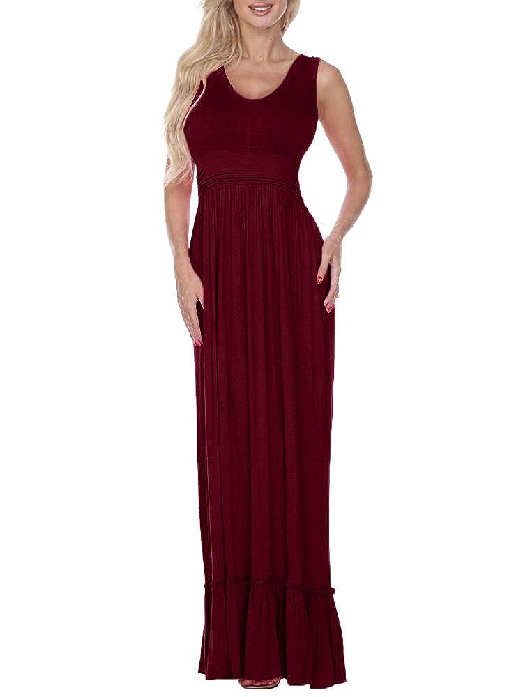 Chuanqi Womens Sleeveless Maxi Dresses Elegant Empire Waist Flounce Flowy Plain Long Tank Dress