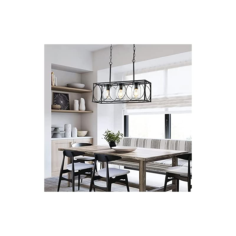 Mason Jar Chandelier Light, Rustic Farmhouse Pendant Lighting for Kitchen Island, 3-Light Mason Jar Dining Room Hanging…