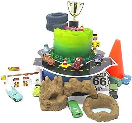 Tremendous Amazon Com Cars 14 Piece Birthday Cake Topper Set Featuring Tow Funny Birthday Cards Online Benoljebrpdamsfinfo