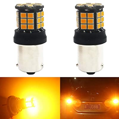 2-Pack 1056 BAU15S 7507 12496 1156PY PY21W Extremely Bright Amber/Yellow Non-Polarity 2835 39-SMD 9-30V LED Car Replacement Lights for Turn Signal Light Blinker Bulb: Automotive