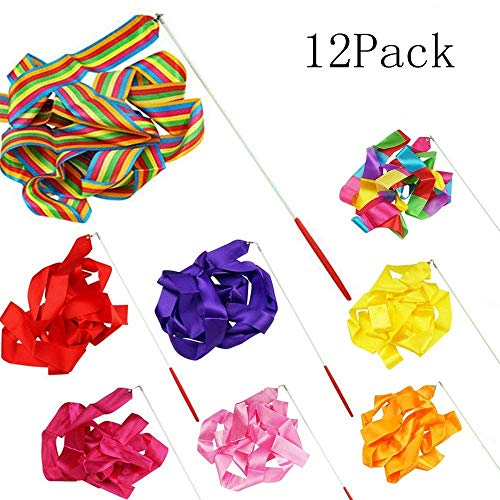 6.5-Foot Long Dancing Ribbon Streamer Rhythm Ribbon Set Pack of 12 random Different Colors -