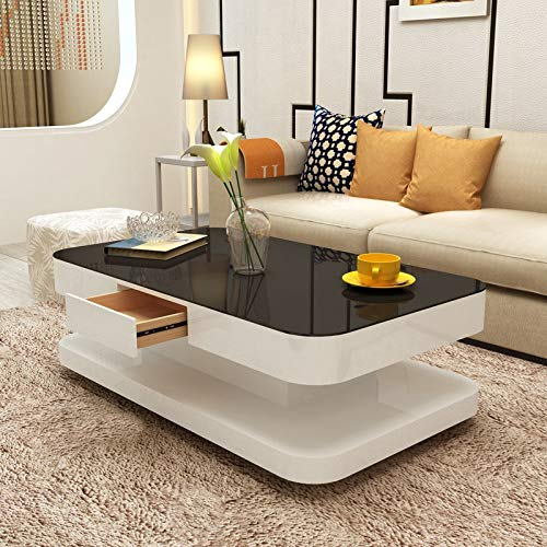 Mecor Coffee Table Design Modern High Gloss White Table For