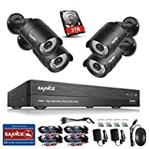 SANNCE 8CH HD 1080P High Definition DVR Surveillance Security System and (4) 2.0 MP Indoor/Outdoor Weatherproof Night Vision CCTV Cameras, 2TB Surveillance HDD Pre-installed