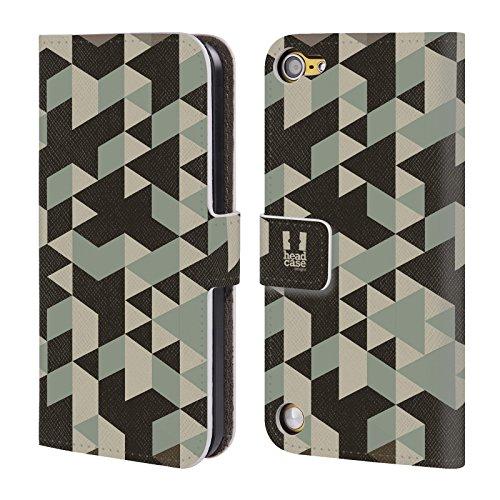 Head Case Designs Marrone Mimetico Geometrico Cover a portafoglio in pelle per iPod Touch 5th Gen / 6th Gen