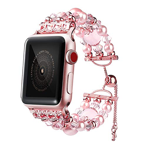 Ezzdo Apple Watch Band, Decorated Handmade Jewelry Faux Pearl Luxury Bracelet Rose Gold Elastic Stretch Replacement Strap + Frame for Women iWatch 38mm 42mm Series 1 2 3(Jewelry Pink, 42mm)