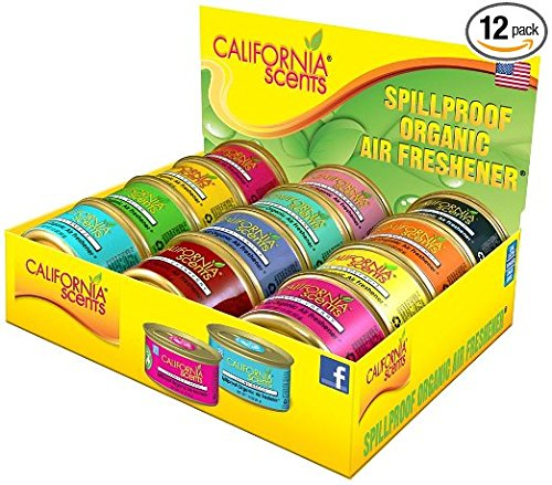 California Scents Spill-Proof Organic Air Freshener, 12-Pack Assorted Fragrances, Fresh & Bold, 1.5 Ounce Canister (12 Count) by California Scents (Image #1)