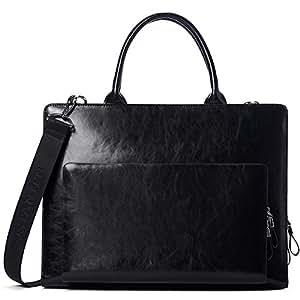 BOSTANTEN Leather Business Briefcase Shoulder Laptop Vintage Slim Bags for Men Brown