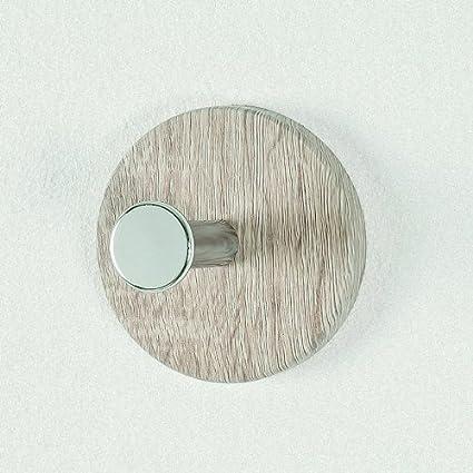 Perchero botón, roble - Cromo, Níquel, Acero, MDF, 0 x 5 x 0 ...